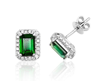 Emerald Cut Green Cz Halo Cluster Stud Earrings 925 Sterling Silver Rhodium Plated