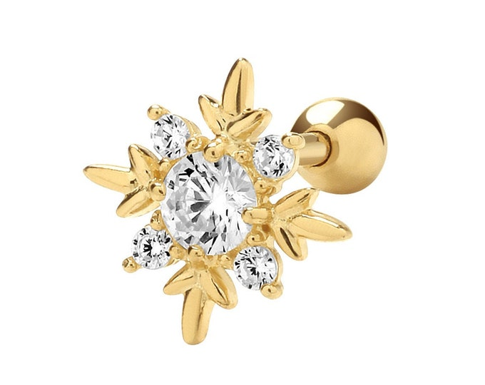 9ct Yellow Gold Cz Compass Helix Cartilage 6mm Bar Single Stud Screw Back Earring