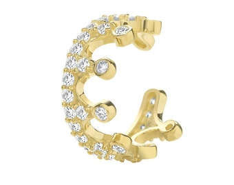 9ct Yellow Gold Pave Set Cz 8mm Crown Cartilage Cuff Single Hoop Earring - Real 9K Gold
