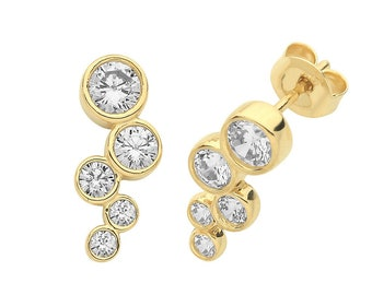 9ct Yellow Gold 5 Stone Waterfall Cluster Bezel Set Cz Stud Earrings - Real 9K Gold