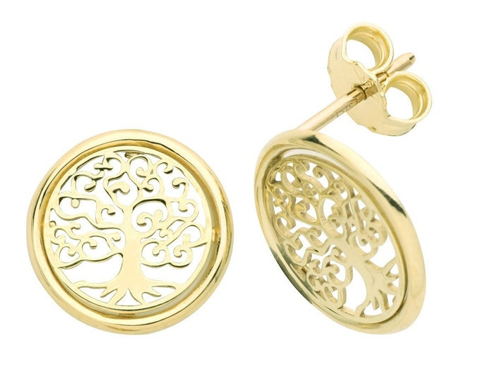 9ct Yellow Gold Filigree Tree of Life 12mm Round Stud Earrings - Real 9K Gold
