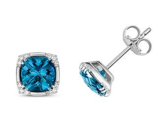 9K White Gold Diamond & London Blue Topaz Cushion Cut Art Deco Stud Earrings