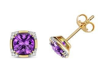 9K Gold Diamond & Purple Amethyst Cushion Cut Art Deco Stud Earrings
