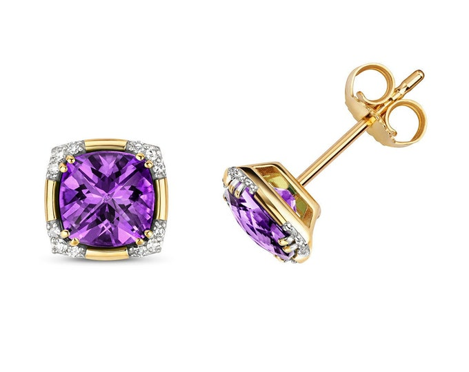 9K Gold Diamond & Purple Amethyst Cushion Cut Art Deco Stud Earrings