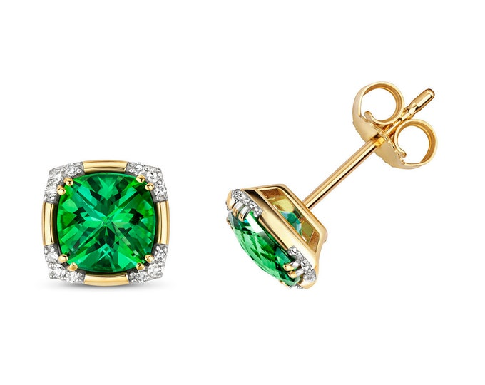 9K Gold Diamond & Rainforest Green Passion Cushion Cut Topaz Stud Earrings