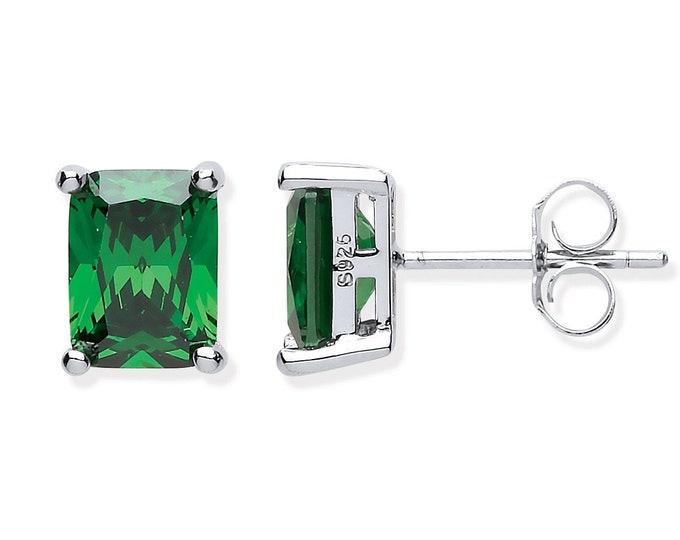 925 Sterling Silver 7x5mm Baguette Cut Green CZ Stud Earrings