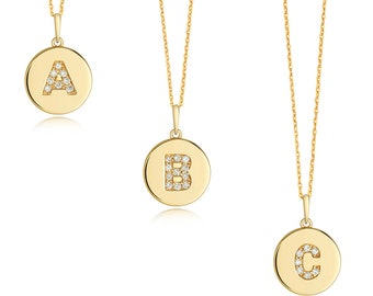 Diamond Initial Disc Pendants 9ct Yellow Gold 1.1cm Letters A-Z Hallmarked - Real 9K Gold