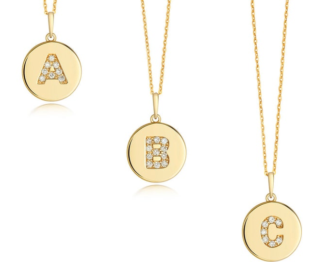 Diamond Initial Disc Pendants 9ct Yellow Gold 1.3cm Letters A-Z Hallmarked