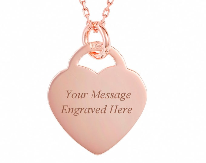 Personalised Rose Gold Heart Tag Necklace - Engraved Name, Initials or Message
