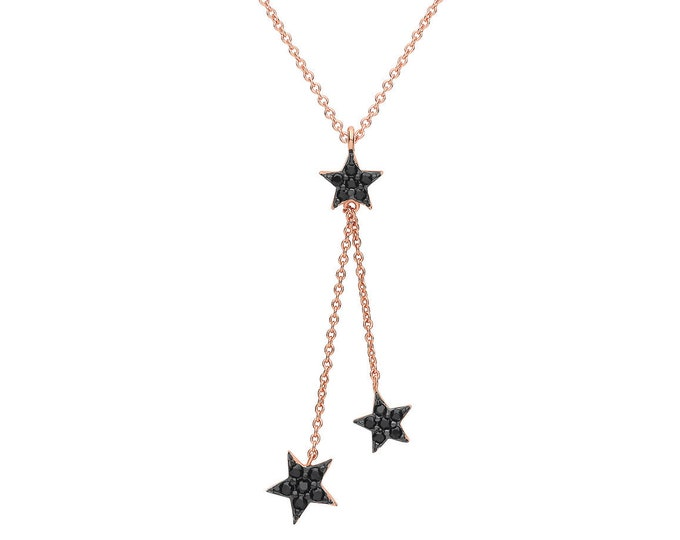 "Rose Gold Plated 925 Sterling Silver Interstellar Black Cz Star Charm 16""-18"" Lariat Necklace"