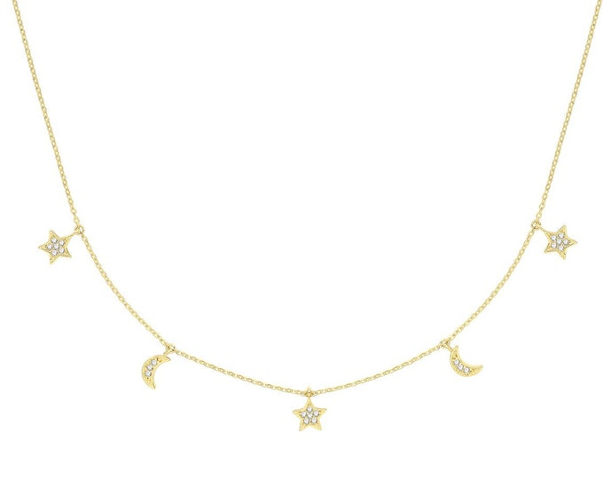 """9ct Yellow Gold Interstellar Hanging Cz Star & Moon Charm Chain 15.5"""" to 17.5"""" Necklace Hallmarked - Real 9K Gold"""