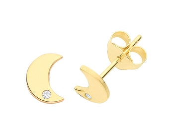 Pair of 9ct Yellow Gold 6x4mm Flat Half Moon With Cz Stud Earrings- Real 9K Gold