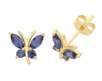 9ct Gold Blue Sapphire Flower Ladies Stud Earrings Solid 9k Gold
