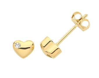 9ct Yellow Gold 6mm Domed Heart Single Cz Stud Earrings - Real 9K Gold