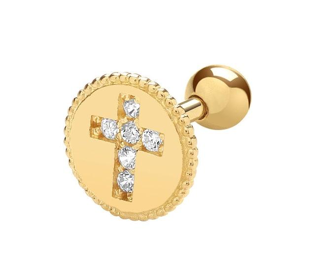 9ct Gold Round Milgrain Edge Cz Cross Helix Cartilage 6mm Post Screw Back Single Stud Earring - Real 9K Gold