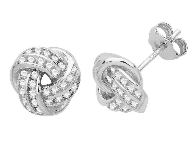 925 Sterling Silver 8mm Channel Set Cz Twisted Knot Stud Earrings