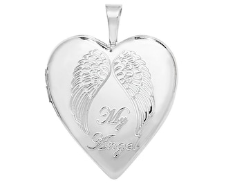Sterling Silver Engraved My Angel Wings Heart Shaped 2cm Locket Personalise