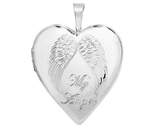Sterling Silver Engraved My Angel Wings Heart Shaped 2cm Locket Personalised