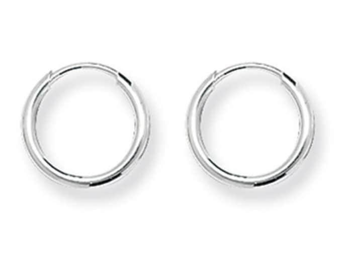 Pair of 925 Sterling Silver 10mm Diameter 1mm Tube Threader Sleeper Hoop Earrings