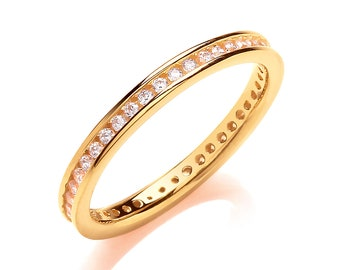 Yellow Gold on Sterling Silver 2mm Full Channel Set Cz Eternity Ring