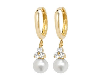 9ct Yellow Gold Hinged Hoop White Pearl & Cz Cluster 2cm Drop Earrings - Real 9K Gold
