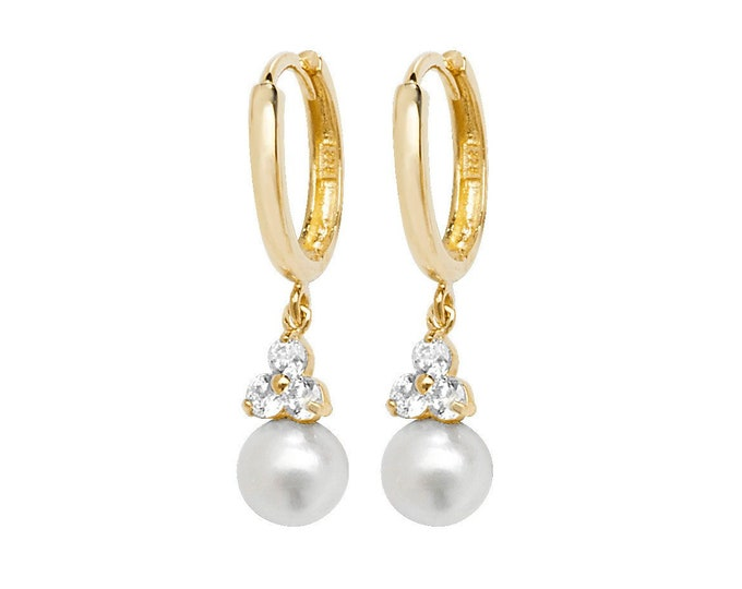 9ct Yellow Gold Hinged Hoop White Pearl & Cz Cluster 2cm Drop Earrings Hallmarked