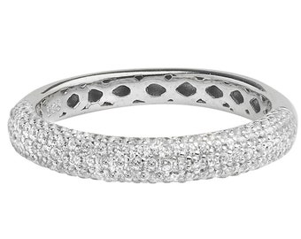 Micro Pave Brilliant Cz 3mm Wedding Band 925 Sterling Silver Sizes K-T