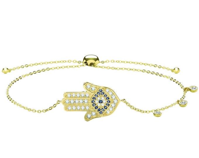 "Ladies 9ct Yellow Gold Cz Evil Eye Hamsa Slider Toggle 7"" Bracelet Hallmarked - Real 9K Gold"