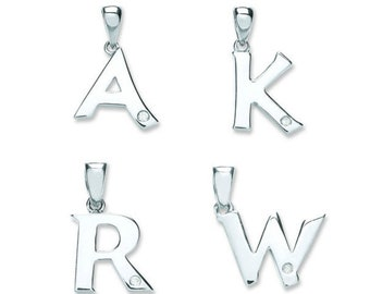 9ct White Gold Solitaire Rubover Set Diamond Initial Pendant Letters A-W - Real 9K Gold