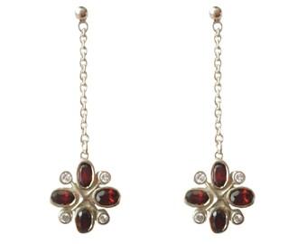 925 Sterling Silver Oval Cut Real Garnet 4.5cm Floral Cluster Drop Earrings