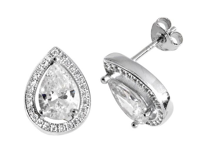 925 Sterling Silver Teardrop Cluster Pear Cut Cz Stud Earrings