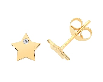 Pair of 9ct Yellow Gold 5mm Flat Star With Cz Stud Earrings- Real 9K Gold