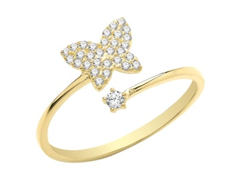 Ladies 9ct Yellow Gold Cz Pave Set Butterfly Torque Ring 375 - Real 9K Gold