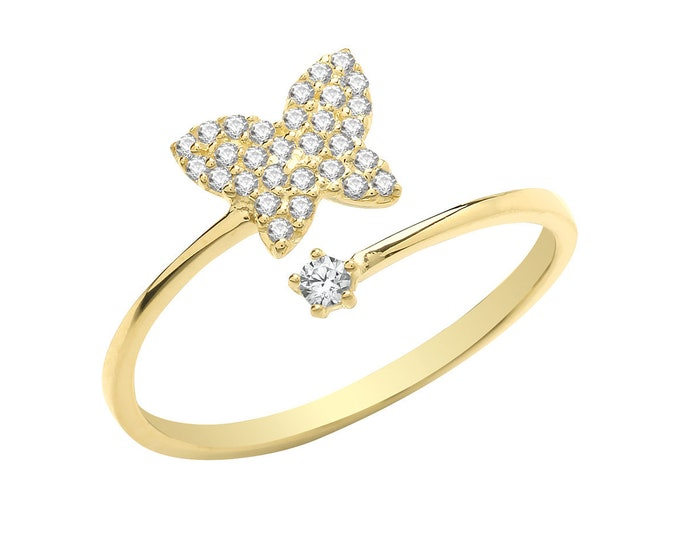 Ladies 9ct Yellow Gold Cz Pave Set Butterfly Torque Ring 375