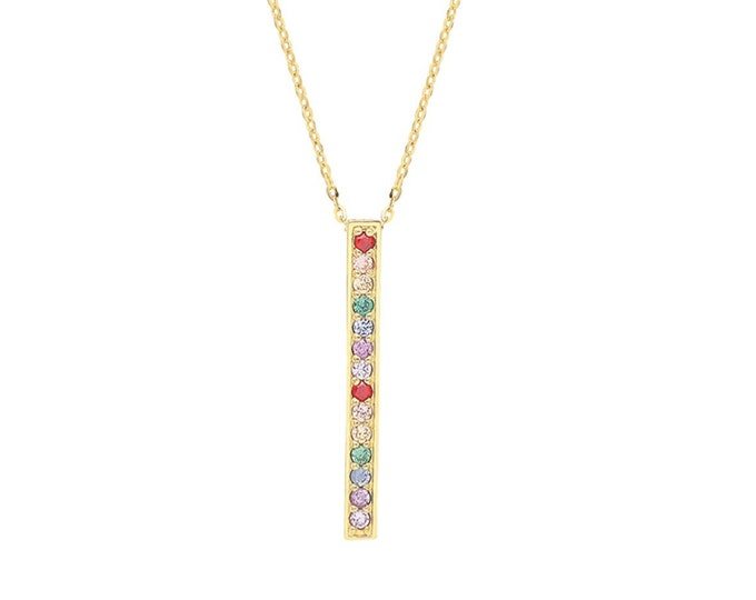 """9ct Yellow Gold Multi Color Cz Rainbow Bar Charm 15.5"""" to 17.5"""" Necklace Hallmarked - Real 9K Gold"""