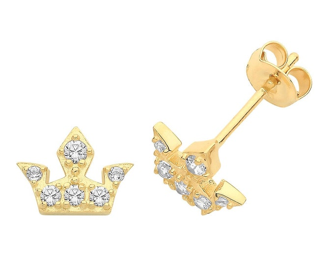 9ct Yellow Gold Pave Cz Regal Crown Shaped Stud Earrings
