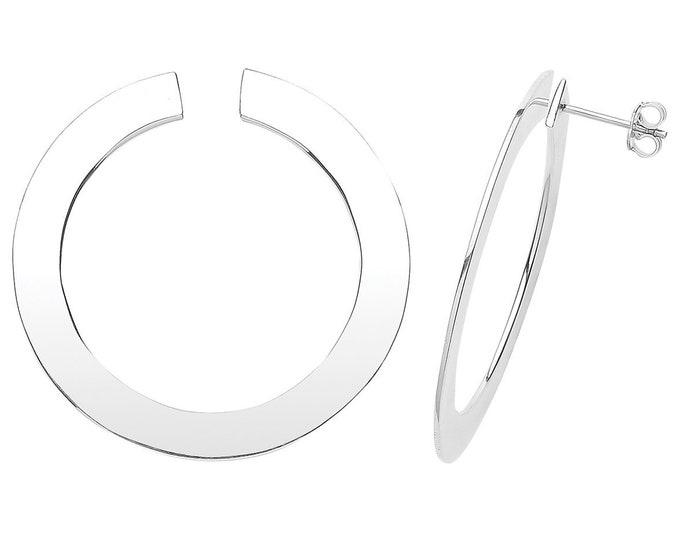 Contemporary 925 Sterling Silver 40mm Flat Hoop Stud Earrings