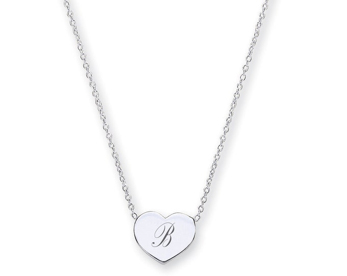 "Personalised 925 Sterling Silver Small 9mm Heart Engraved Initial 16""-17"" Necklace"