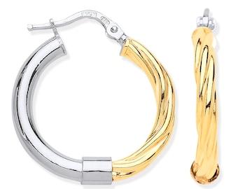 925 Sterling Silver Hoop Earrings Half Yellow Gold Plated Twist 23mm 27mm 37mm Diameter