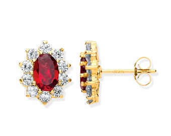 Real Red Garnet & Cz Oval Cluster Stud Earrings 9ct Yellow Gold