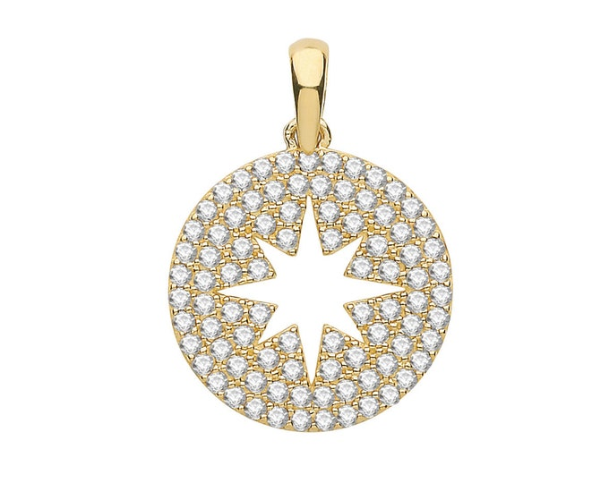 Real 9K Gold Small 9ct Yellow Gold Cz Cluster Set 8mm Eight Point Star Design Pendant