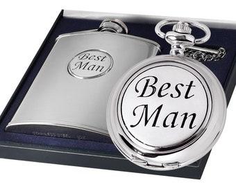 Groomsmen Quartz Chrome/Pewter Pocket Watch & Hip Flask Gift Set - Personalised Engraved Message