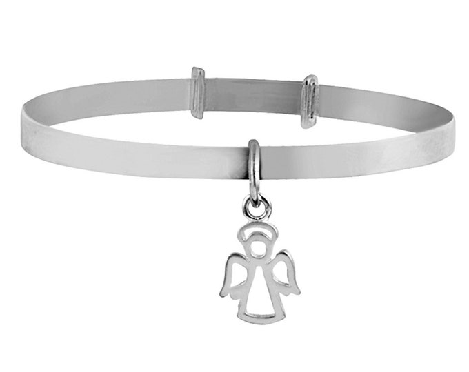 925 Sterling Silver Your Guardian Angel Charm Expandable Baby Bangle