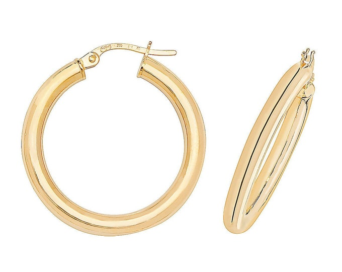 9ct Yellow Gold 20mm Diameter Plain Polished Hoop Earrings - Real 9K Gold