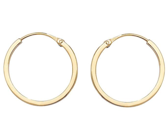 9ct Yellow Gold 12mm Diameter Hinged Threader Sleeper Flat Hoop Earrings - Real 9K Gold