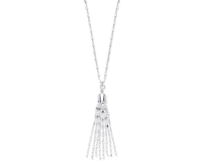 "Sterling Silver Diamond Cut Belcher & Box Link Chain With Tassel 17"" Necklace"
