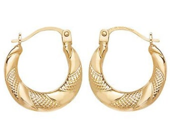 9ct Yellow Gold Diamond Cut Patterned 18mm Creole Hoop Earrings - Real 9K Gold