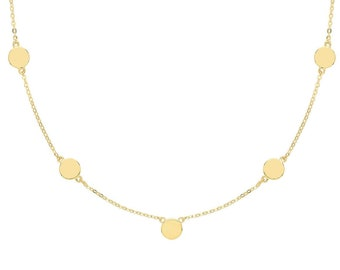 "Ladies 9ct Yellow Gold Boho Gypsy Round Discs Chain 7"" Bracelet - Solid 9K Gold"