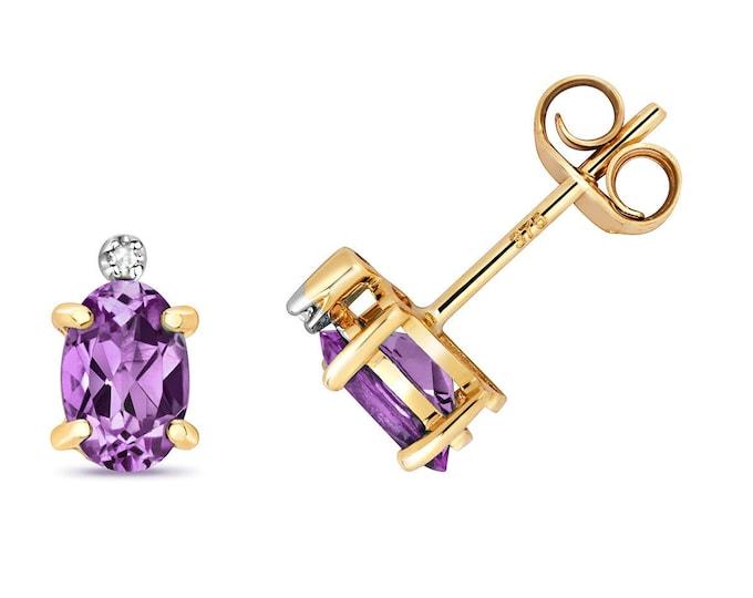 9ct Gold Diamond & Oval Cut 6x4mm 0.16ct Purple Amethyst Stud Earrings - Real 9K Gold