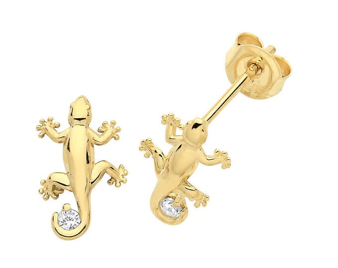Contemporary 9ct Yellow Gold Cz Gecko Lizard Stud Earrings 8x5mm